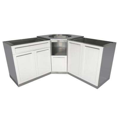 Stainless Steel 101 in. x 36 in. x 37 in. Outdoor Kitchen Kamado Corner Cabinet Set in White (3-Piece)
