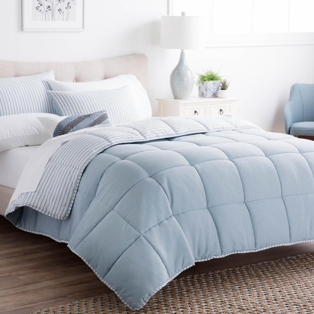 Striped Reversible Calm Sea Cal King Chambray Comforter Set
