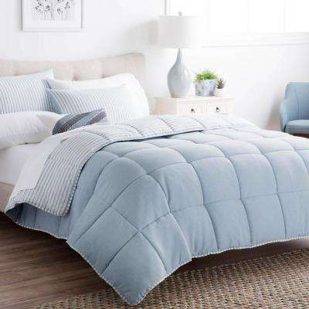 Striped Reversible Calm Sea Twin XL Chambray Comforter Set
