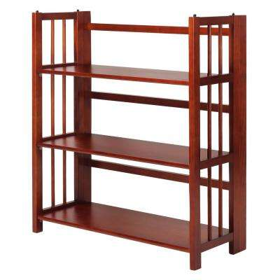 3-Shelf 35 in. Mahogany Wide Folding Stackable Bookcase
