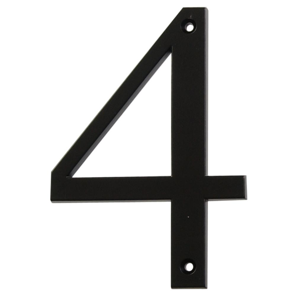 4 in. Flush Mount Black Metal Number 4