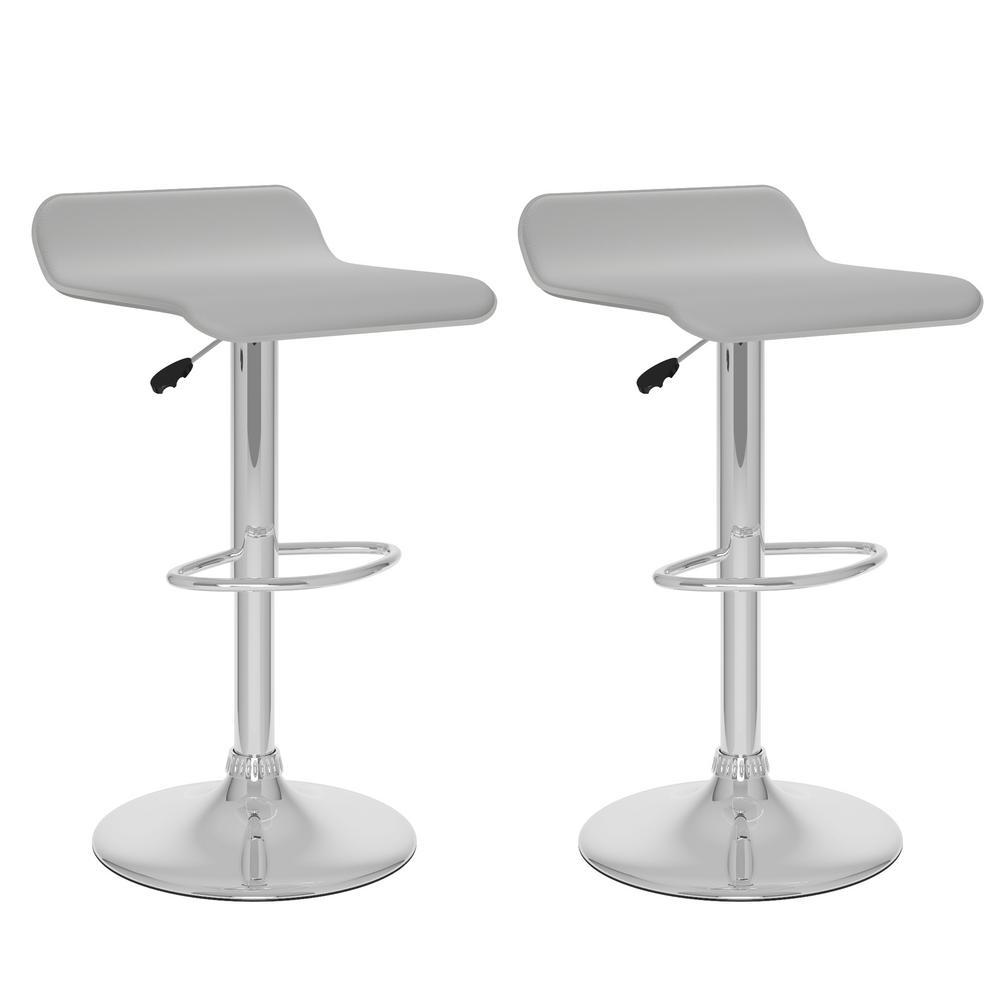Corliving Adjustable Height White Leatherette Swivel Bar