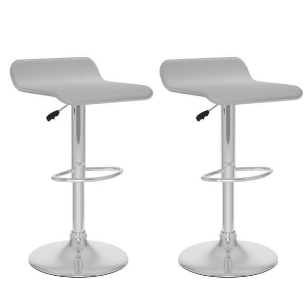 CorLiving Adjustable Height White Leatherette Swivel Bar Stool with Curved Seat