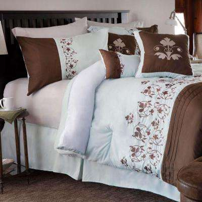 Hannah 7-Piece Brown Embroidered Queen Comforter Set