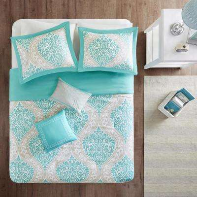 Sabrina 5-Piece Aqua King/California King Damask Duvet Cover Set