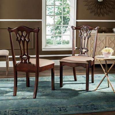 Whitfield 20 in. H Gold/Mahogany Chippendale Side Chair (Set of 2)