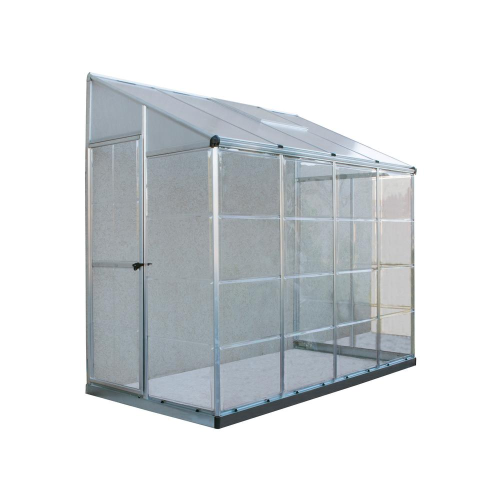 Palram Lean To Grow House 8 ft. x 4 ft. Silver Hybrid Gre...