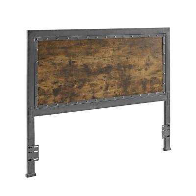 48 in. Brown Industrial Queen Size Wood Metal Panel Headboard