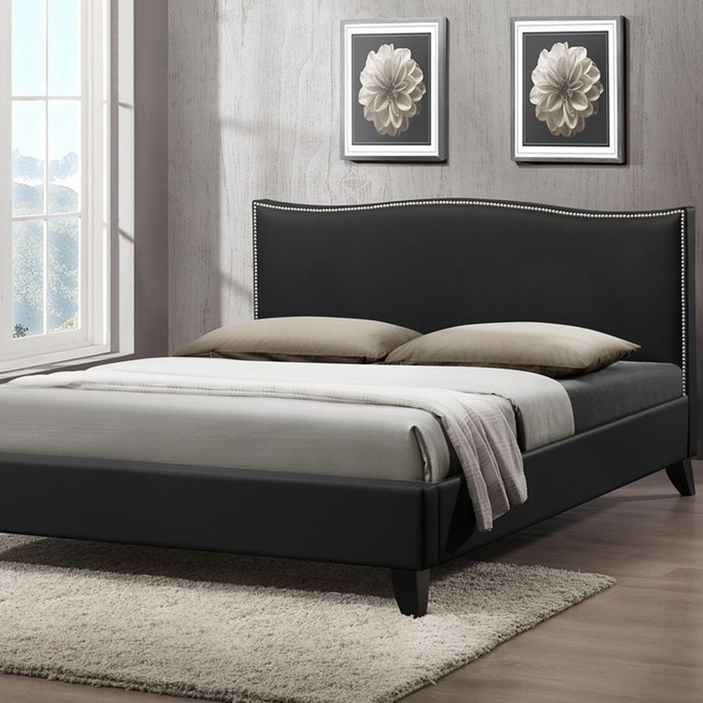 Battersby Transitional Black Faux Leather Upholstered Full Size Bed