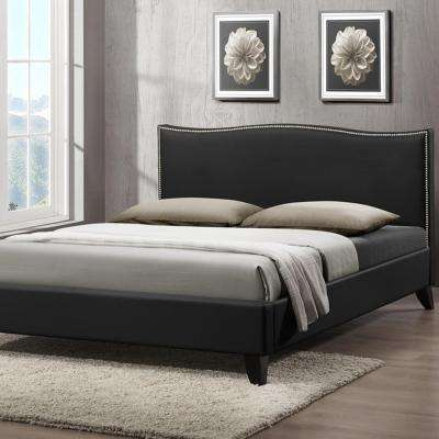 Battersby Transitional Black Faux Leather Upholstered Queen Size Bed