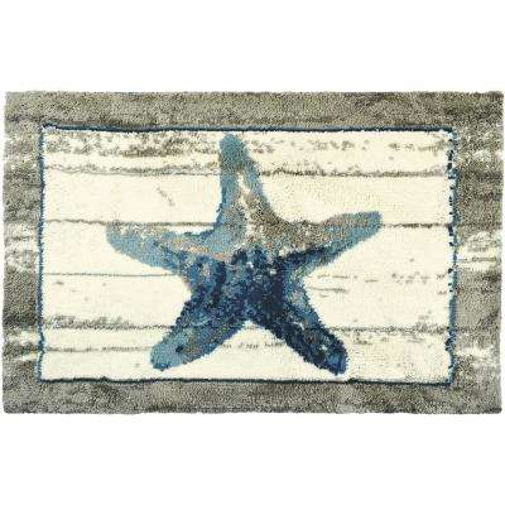 "Driftwood Starfish Gray 22"" x 34"" Coastal Accent Rug"