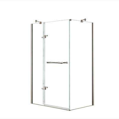 Reveal 29-7/8 in. x 48 in. x 71-1/2 in. Frameless Corner Pivot Shower Enclosure in Brushed Nickel