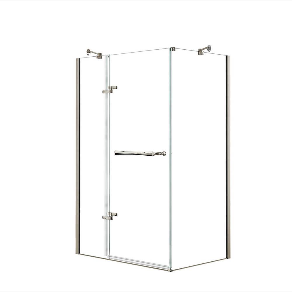 Reveal 29-7/8 in. x 48 in. x 71-1/2 in. Frameless Corner Pivot Shower Enclosure in Brushed Nickel