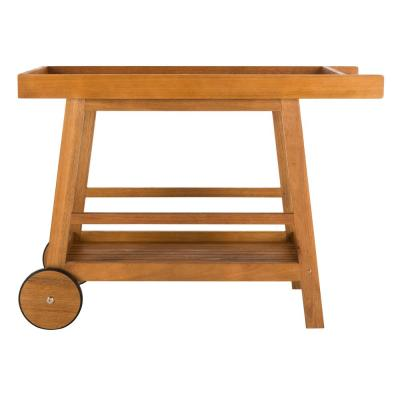 Renzo Natural Brown Eucalyptus Wood Patio Serving Cart