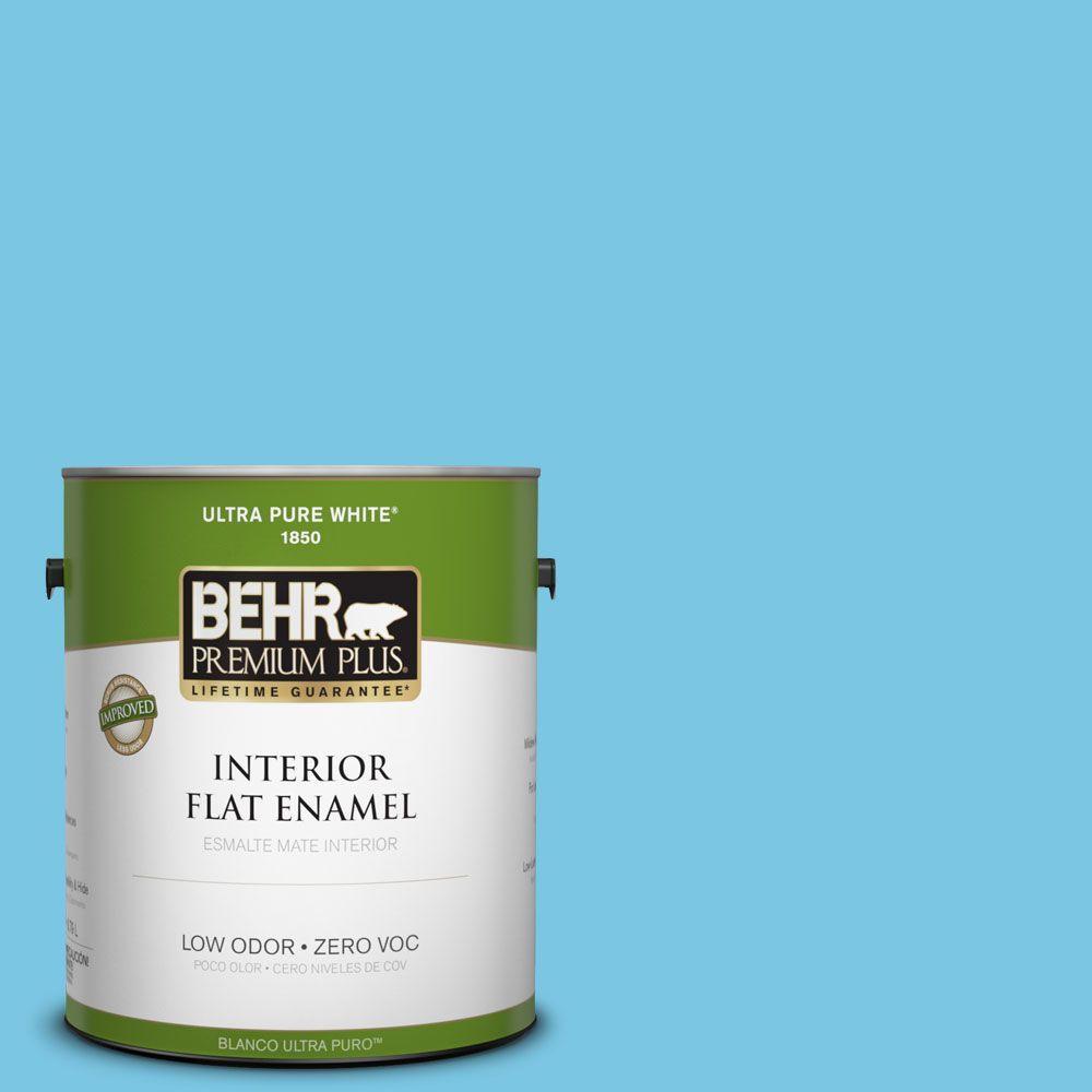 BEHR Premium Plus 1-gal. #530B-4 Bliss Blue Zero VOC Flat Enamel Interior Paint-DISCONTINUED