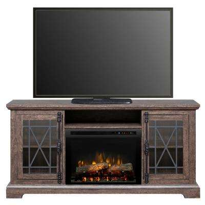 Natalie 66 in. Freestanding Electric Fireplace TV Stand Media Console in Elm Brown
