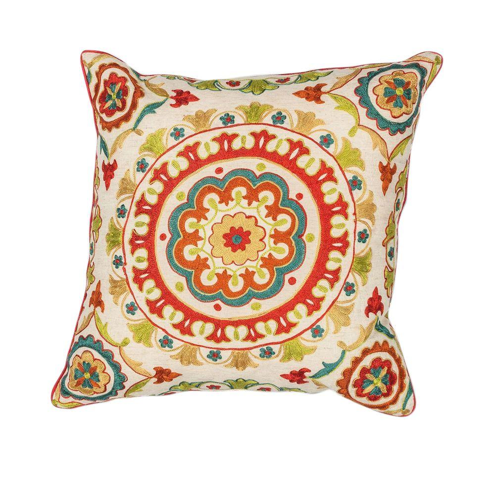 Kas Rugs Round Mosaic Red Teal Decorative Pillow Pill17418sq The Home Depot