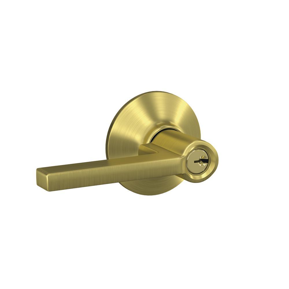 Custom Latitude Satin Brass Plymouth Trim Keyed Door Lever