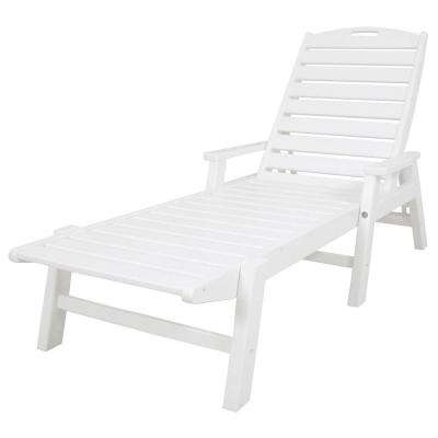 Nautical White Stackable Plastic Outdoor Patio Chaise Lounge
