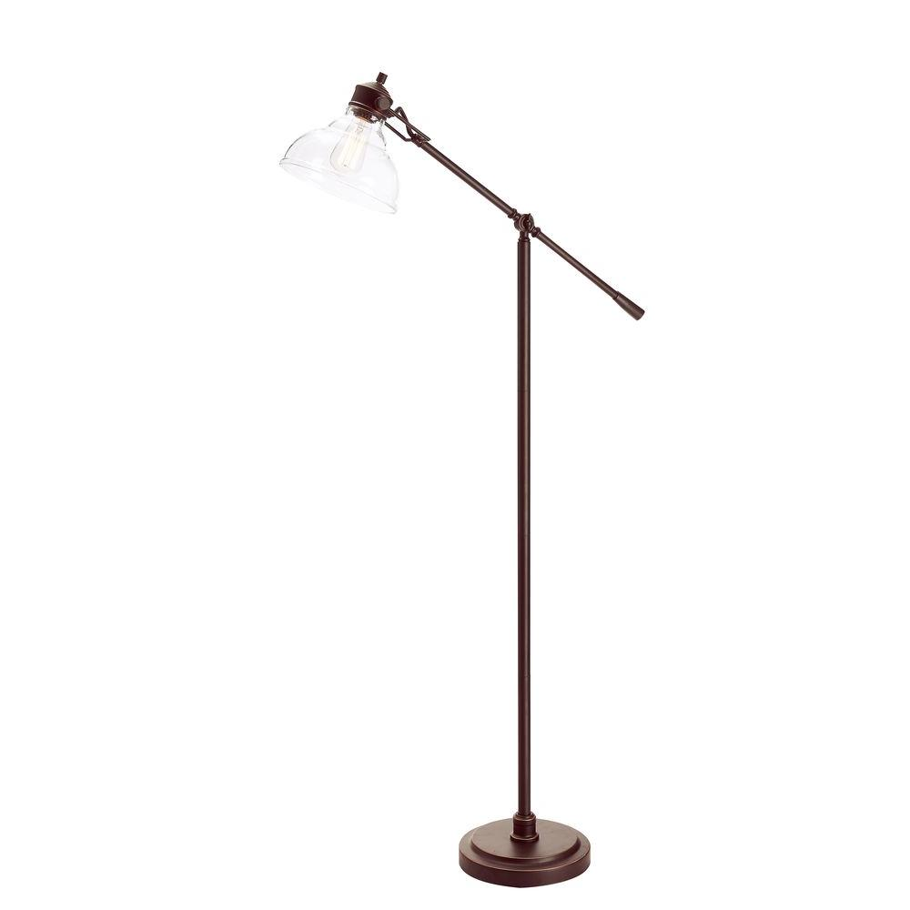 Perfect Bronze Counter Balance Floor Lamp With Glass Shade