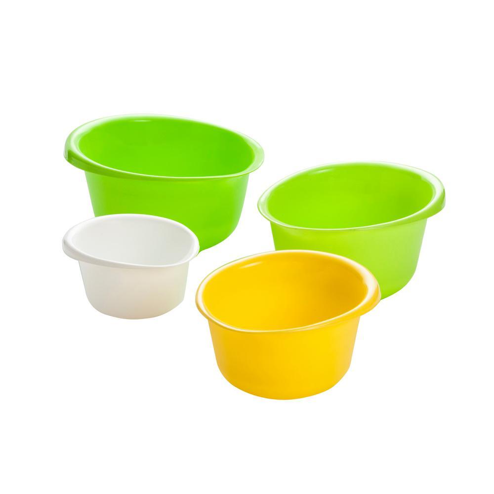 4-Piece Plastic Mixing Bowl Set