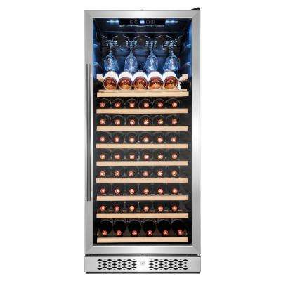 55 in. 59-Bottle Freestanding Compressor Wine Cooler in Stainless Steel with Key Lock