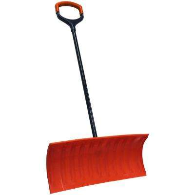 Bigfoot Series 25 in. Poly Pusher Snow Shovel with Double Wide Shock Absorbing D-Grip