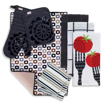 T-Fal Charcoal Cotton Forks Solids and Prints Kitchen Towels (Set of 8)