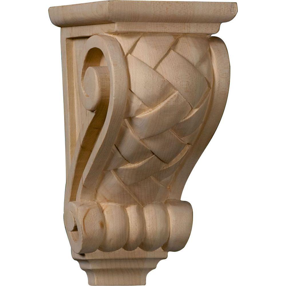 4 in. x 3-1/2 in. x 7 in. Unfinished Wood Red Oak Small Basket Weave Corbel