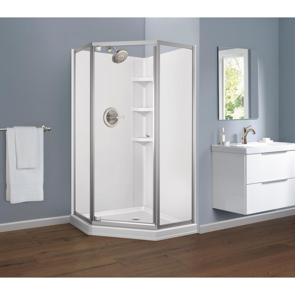 26 In X 67 50 In Framed Neo Angle Hinged Shower Door In Chrome B99912 3838 Pc The Home Depot