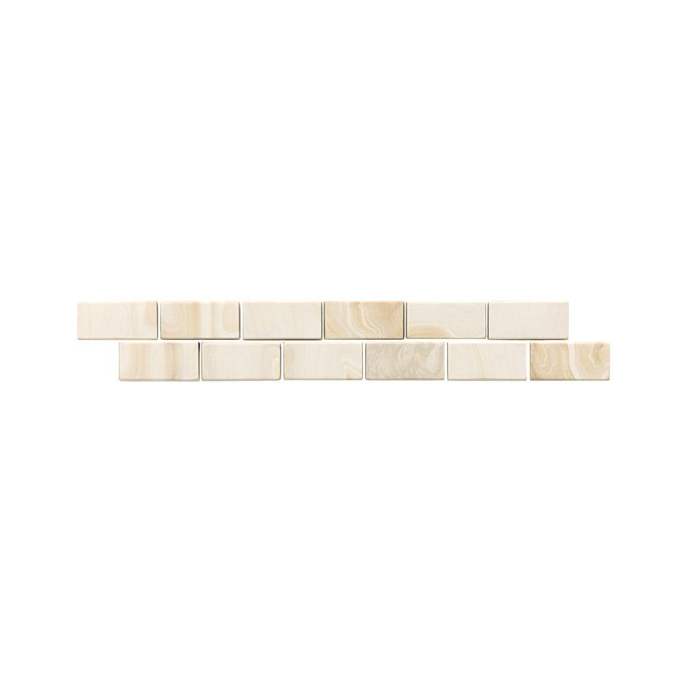 Daltile San Michele Crema 2 in. x 12 in. Glazed Porcelain Floor Decorative Accent Floor and Wall Tile (0.166 sq. ft. / piece)