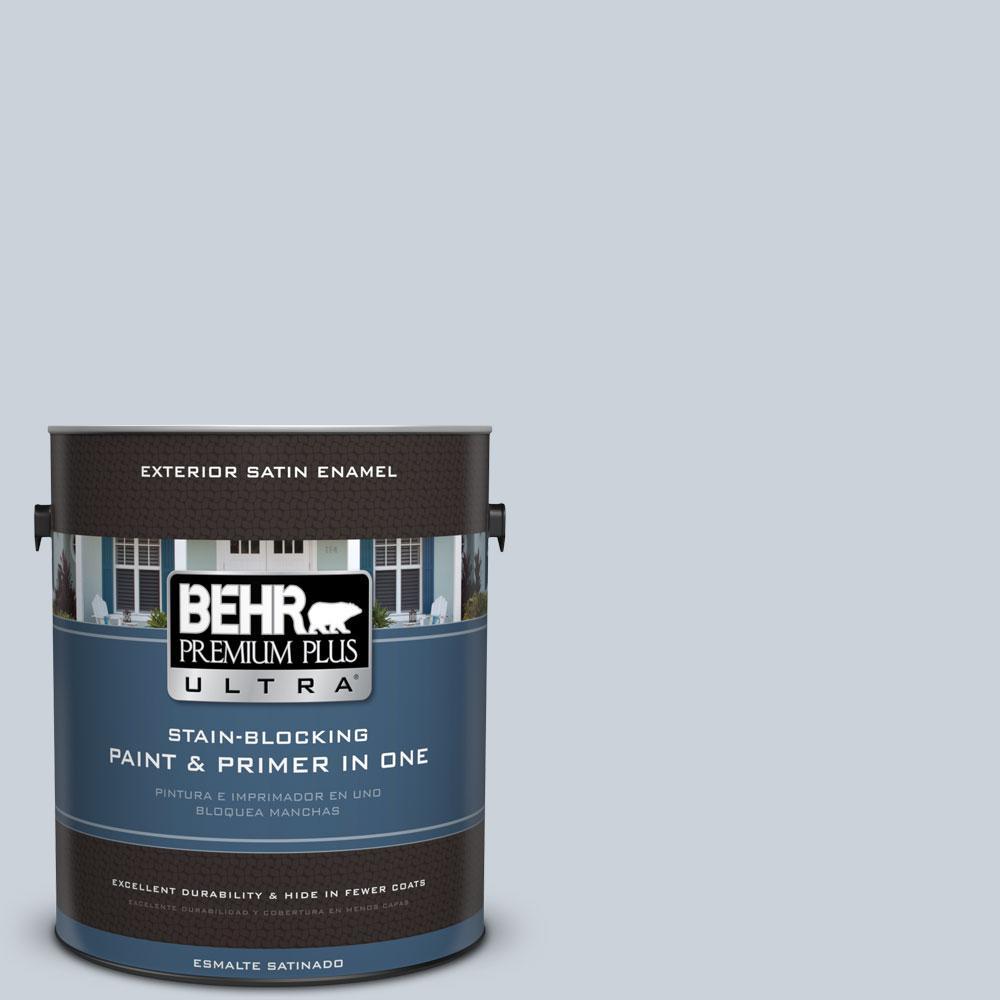 BEHR Premium Plus Ultra 1-gal. #N480-1 Light Drizzle Satin Enamel Exterior Paint