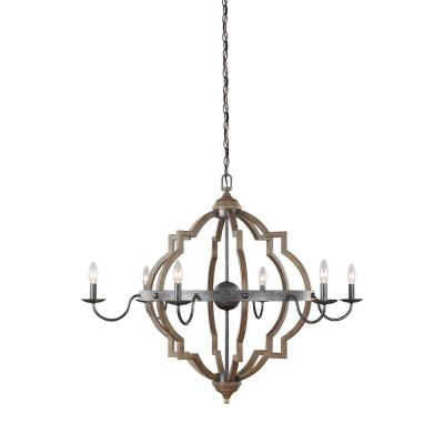 Socorro 40 in. W. 6-Light Weathered Gray and Distressed Oak Chandelier
