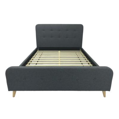Priya Mid-Century Modern Queen-Size Dark Gray Fabric and Wood Bed Frame