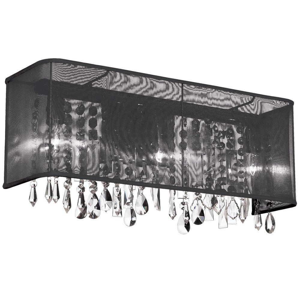 Radionic Hi Tech Bohemian 3-Light Polished Chrome Clear Crystal Vanity Light with Rectangular Black Organza Shade