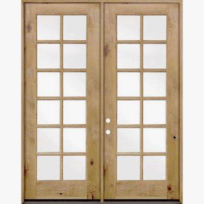 64 in. x 96 in. French Knotty Alder 12-Lite Clear Glass Unfinished Wood Left Active Inswing Double Prehung Front Door