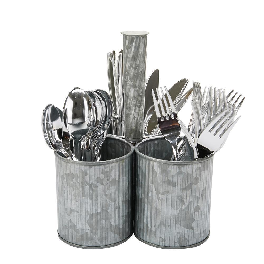 Silver Metal 3-Section Utensil Holder Cutlery Holder Flatware Silverware Organizer