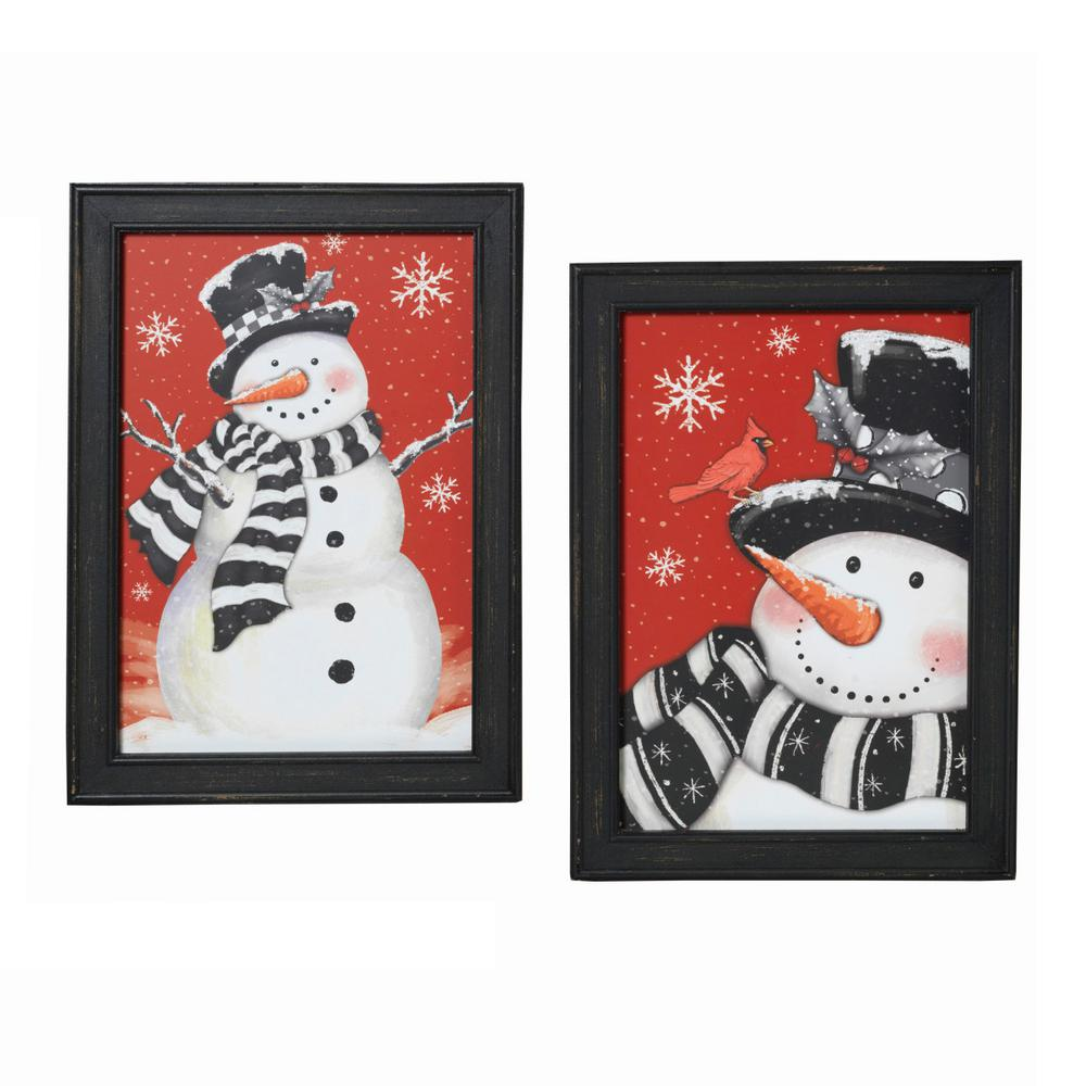 19 in. H Wooden Painted Snowman Holiday Wall Hangings