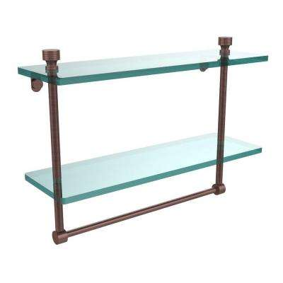 Foxtrot 16 in. L  x 12 in. H  x 5 in. W 2-Tier Clear Glass Bathroom Shelf with Towel Bar in Antique Copper