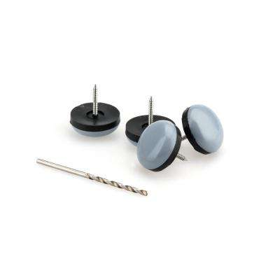 9/10 in. Gray and Black Base Nail-on Glides (4-Pack)
