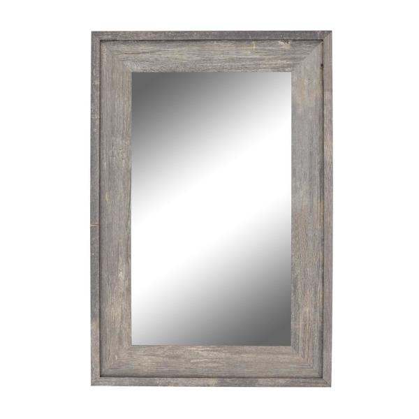 Medium Rectangle Gray Casual Mirror (24.5 in. H x 20.5 in. W)
