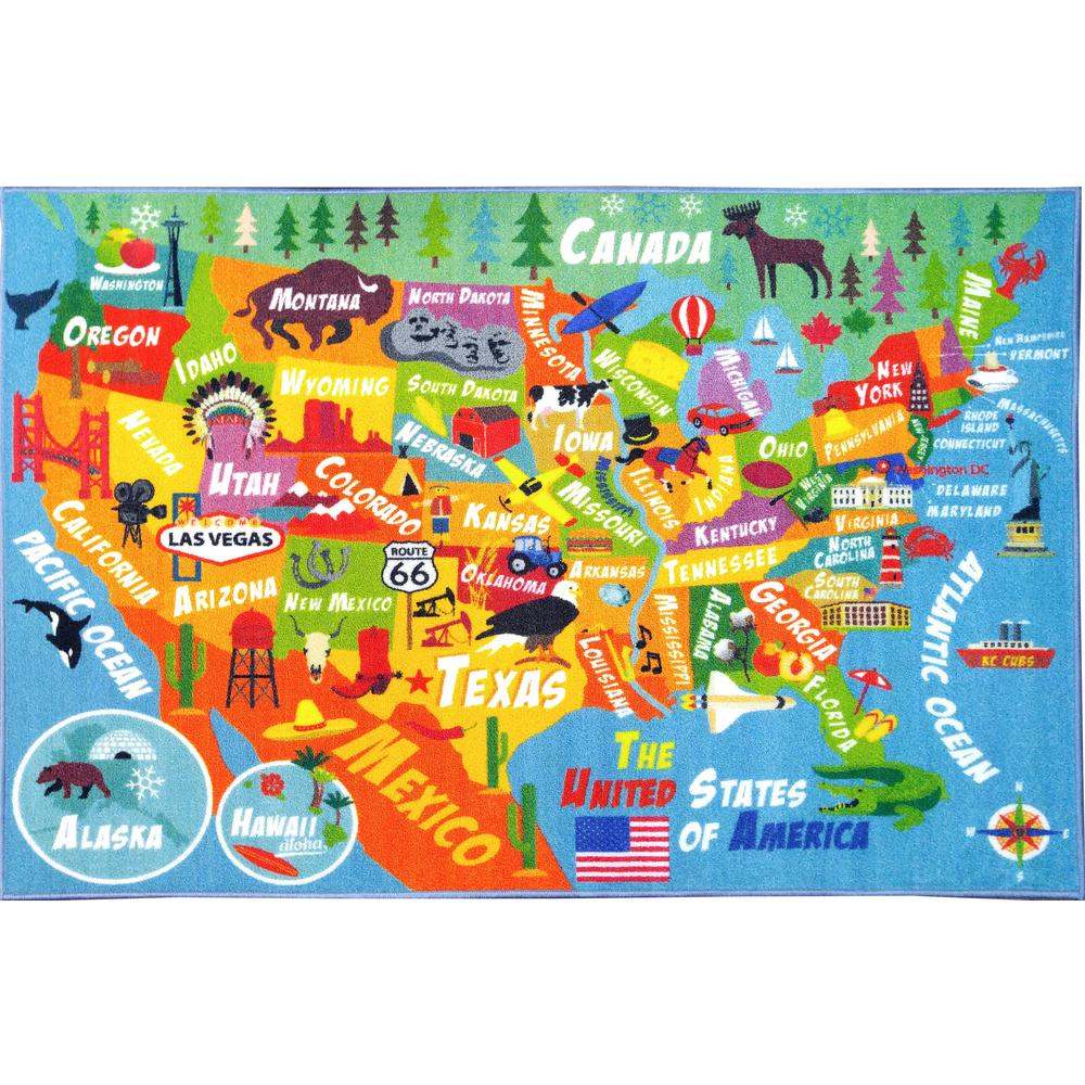 KC CUBS Multi-Color Kids and Children Bedroom Playroom USA United States  Map Educational Learning 5 ft. x 7 ft. Area Rug