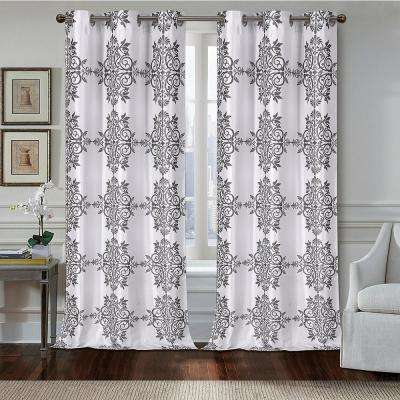 Medallion 84 in. Polyester Room Darkening Printed Textured Fabric Grommet Window Curtain Panel Pair in Silver (2-Pack)