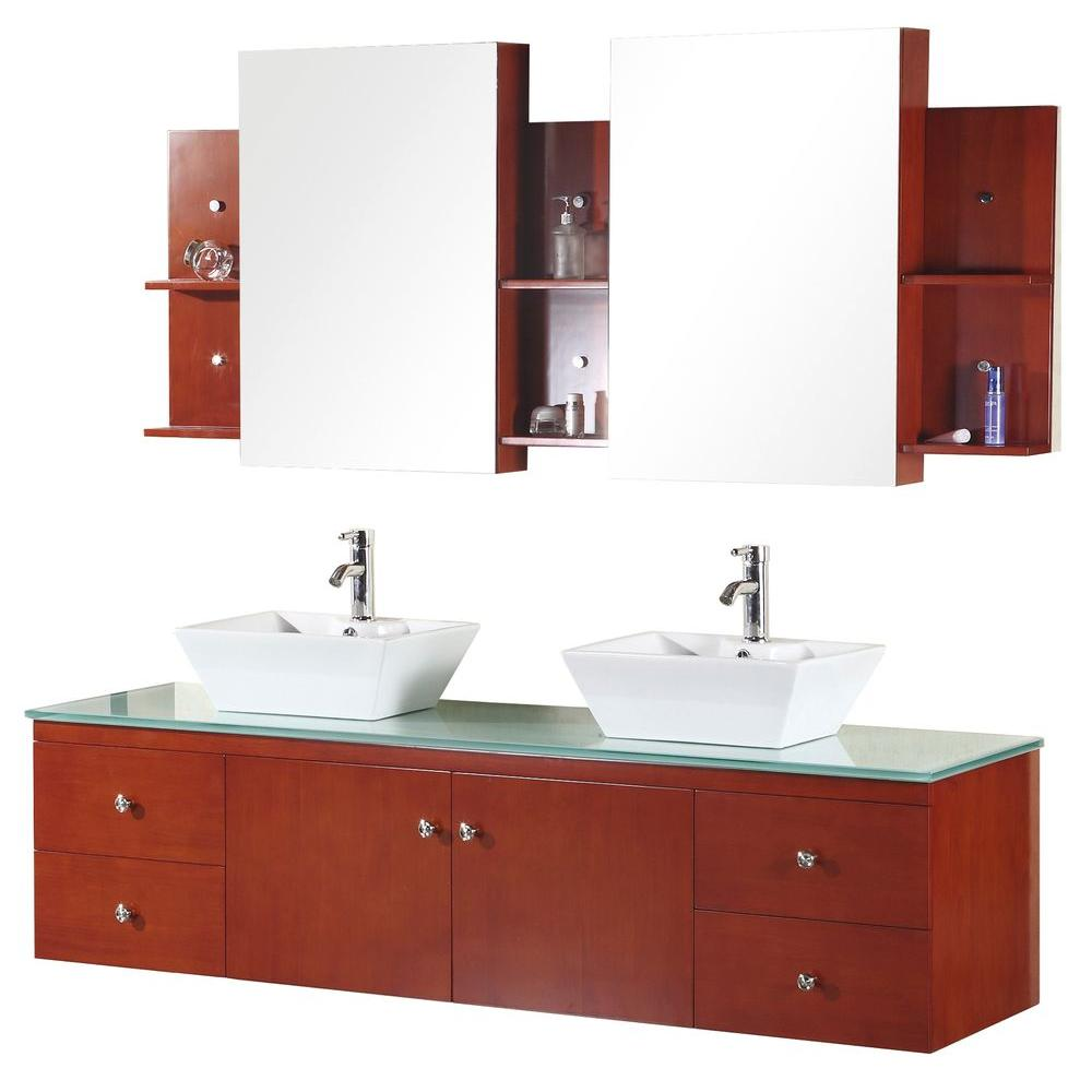 Design Element Portland 72 in. Vanity in Cherry Oak with Glass Vanity Top in Mint and Mirror-DISCONTINUED