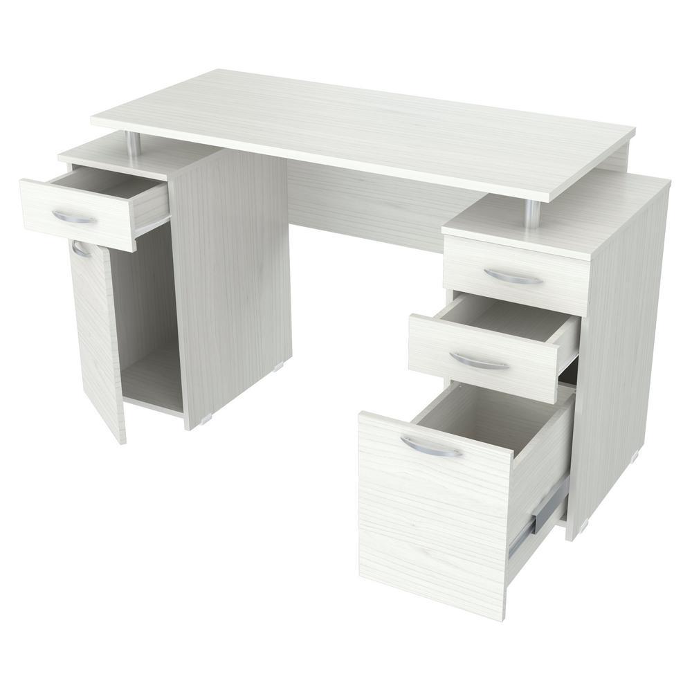 50.79 in. Washed Oak Rectangular 4 -Drawer Computer Desk with File Storage
