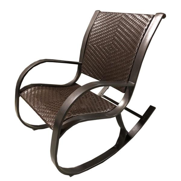 Oakland Living Luxury Brown Wicker Outdoor Rocking Chair 6081 Hb The Home Depot