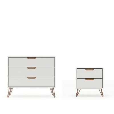 Intrepid 5-Drawer Off White and Nature Mid-Century Modern Dresser and Nightstand (Set of 2)