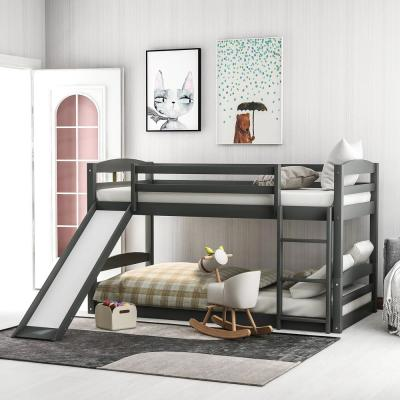 Gray Twin Bunk Bed Over Low with Slide and Ladder