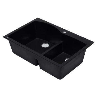 Drop-In Granite Composite 33 in. 1-Hole 35/65 Double Bowl Kitchen Sink in Black