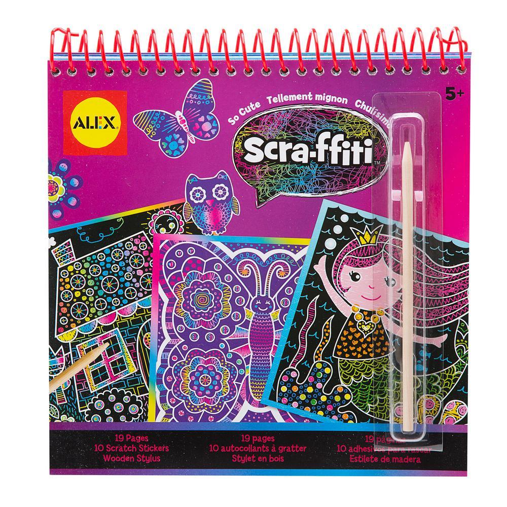 Alex Toys Artist Studio Scra-ffiti So Cute Artist Studio Scratch Pad  Coloring and Sketch Book